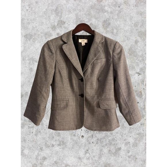 LOFT Jackets & Blazers - Loft Blazer Gray Exposed Stitches Peplum Blazer